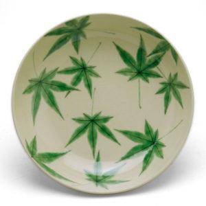 青もみじ紋鉢